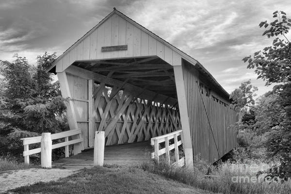Photograph - Wispy Clouds Over The Imes Covered Bridge Black And White by Adam Jewell