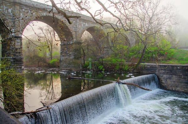 Wall Art - Photograph - Wissahickon Creek Dam At Ridge Avenue by Bill Cannon