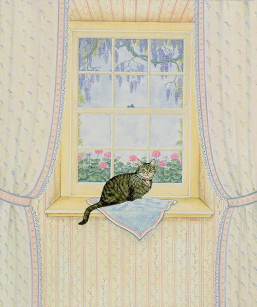 Wisteria Wall Art - Painting - Wisteria Cat by Ditz