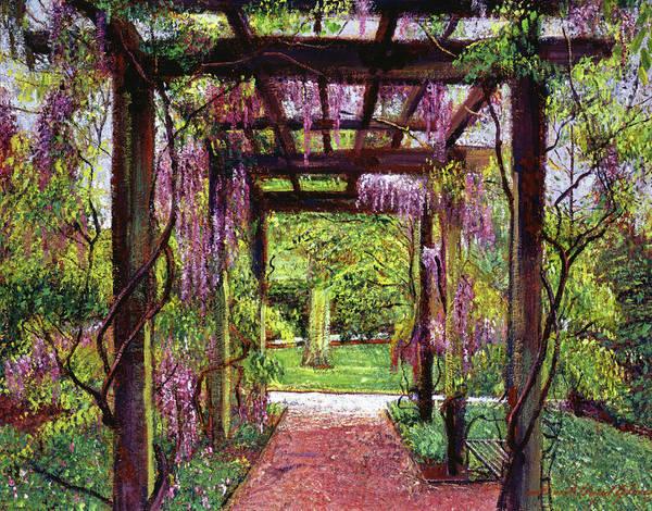 Arbor Painting - Wisteria Trellis by David Lloyd Glover