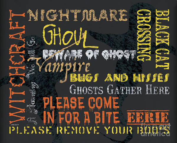 Graveyard Wall Art - Painting - Witchcraft Typography by Debbie DeWitt