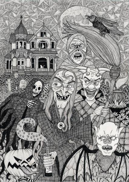 Haunted House Drawing - Witch's Crew by Terri Kelleher