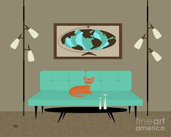 Digital Art - Witco World With Orange Cat by Donna Mibus