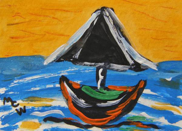 Atc Painting - With A Black Sail by Mary Carol Williams