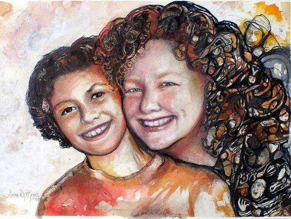 Painting - With Child by Anne-D Mejaki - Art About You productions