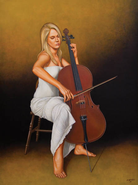 Cello Wall Art - Painting - With Music In Her Soul by Horacio Cardozo