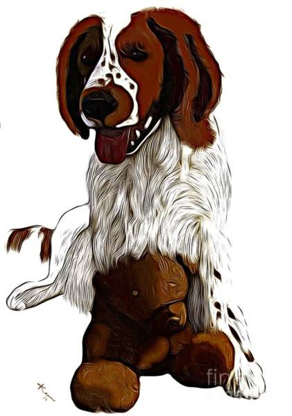 Welsh Springer Spaniel Painting - With Teddy  by Karen Harding