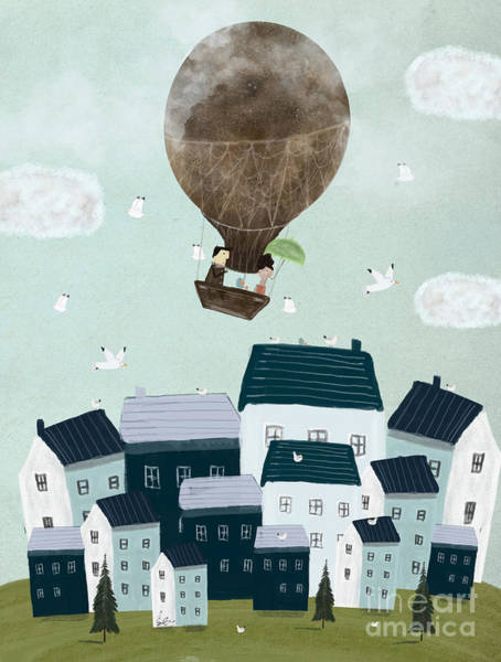 Air Balloon Wall Art - Painting - With The Birds by Bri Buckley