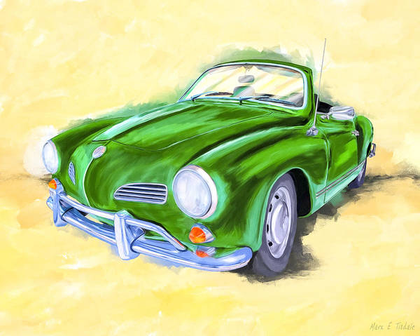 Mixed Media - With The Top Down - Vw Karmann Ghia by Mark Tisdale