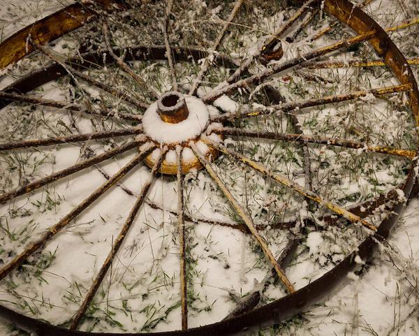 James Craddock Photograph - Wittle Winter Wagon Wheel by James Craddock