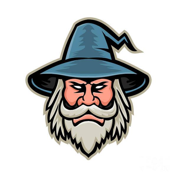 Wizard Hat Wall Art - Digital Art - Wizard Head Mascot by Aloysius Patrimonio