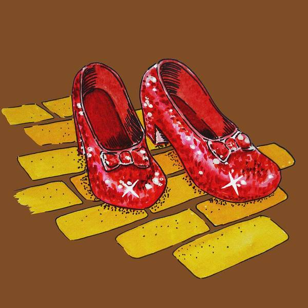 Yellow Brick Road Wall Art - Painting - Wizard Of Oz Ruby Slippers by Irina Sztukowski