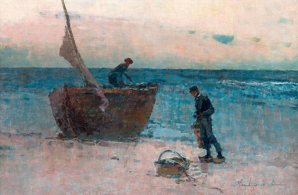Painting - Wladyslaw Wanke Wankie, Fishermen On The Shore. by Artistic Panda