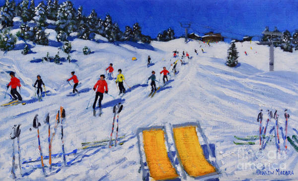 Wall Art - Painting - wo deckchairs, Val Gardena, Italy by Andrew Macara