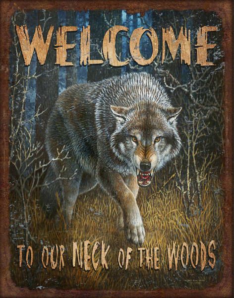 Growling Wall Art - Painting - Wold Neck Of The Woods by JQ Licensing