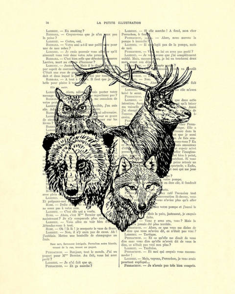 Wall Art - Digital Art - Wolf, Bear, Deer, Owl Wildlife Animals Black And White by Madame Memento