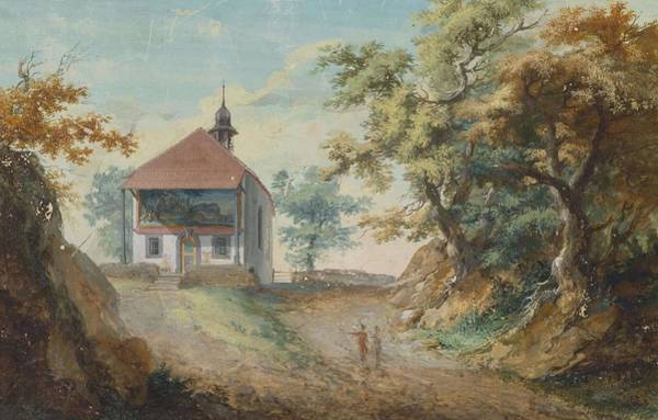 Painting - Wolf  Caspar Walls 1735 1783 Heidelberg The Tell Chapel In The Hohle Gasse Near Kussnacht Circa 1 by Artistic Panda