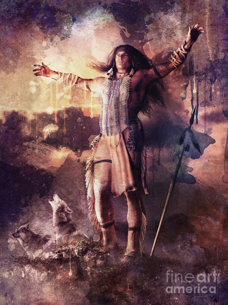 Native Mixed Media - Wolf Clan Warrior by Shanina Conway