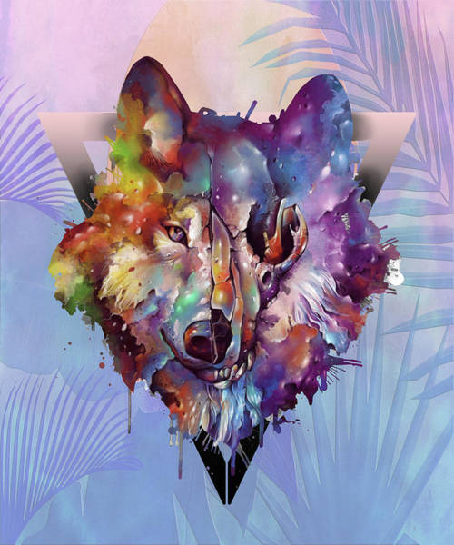 Wall Art - Digital Art - Wolf Coloful Palms by Bekim M