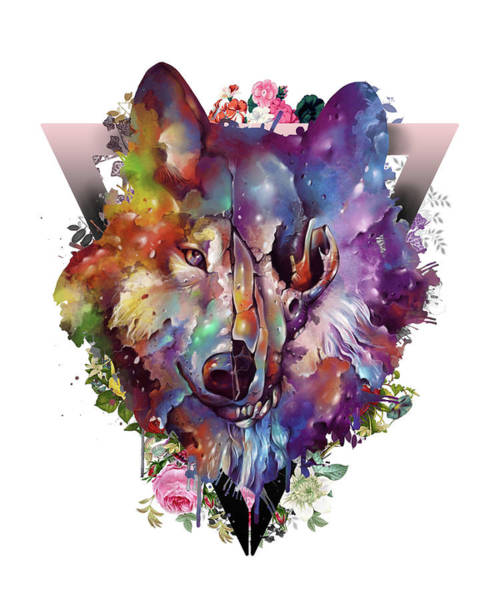 Wall Art - Digital Art - Wolf Colorful by Bekim M