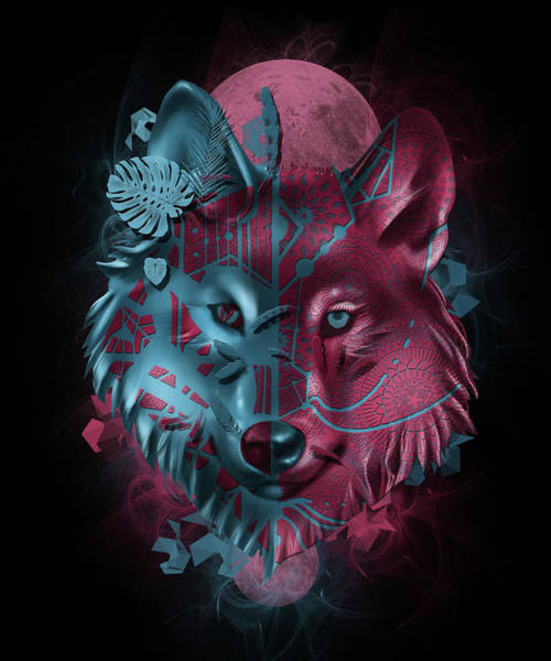 Wall Art - Digital Art - Wolf Decor Black by Bekim M