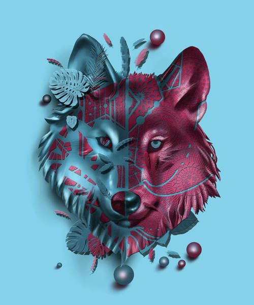 Wall Art - Digital Art - Wolf Decor Blue by Bekim M