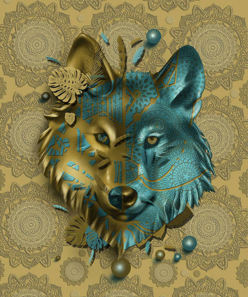 Wall Art - Digital Art - Wolf Decor Gold by Bekim M