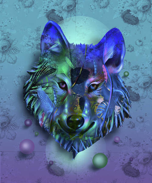 Wall Art - Digital Art - Wolf Decor Purple by Bekim M