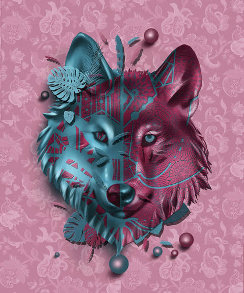 Wall Art - Digital Art - Wolf Decor Red by Bekim M