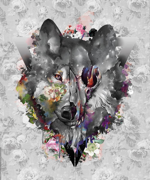 Wall Art - Digital Art - Wolf Floral Decor by Bekim M