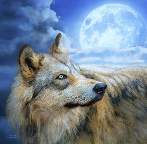 Mixed Media - Wolf Glow by Carol Cavalaris