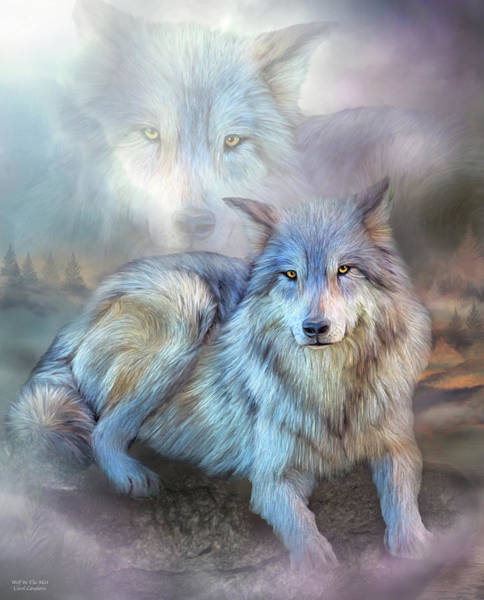 Mixed Media - Wolf In The Mist by Carol Cavalaris
