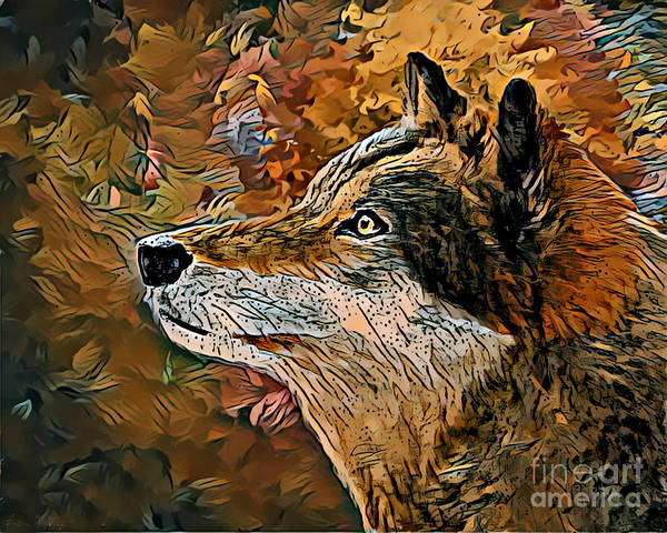 Art Print featuring the painting Wolf by Lita Kelley