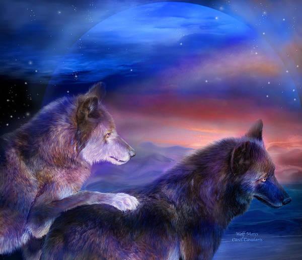 Mixed Media - Wolf Mates by Carol Cavalaris