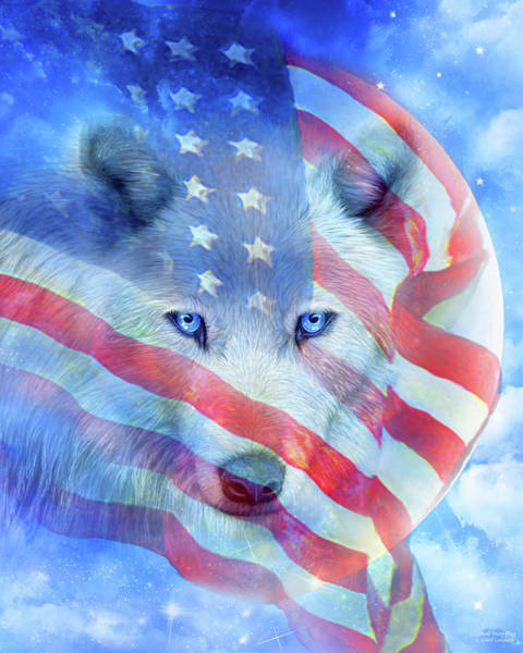 Mixed Media - Wolf Moon Flag by Carol Cavalaris