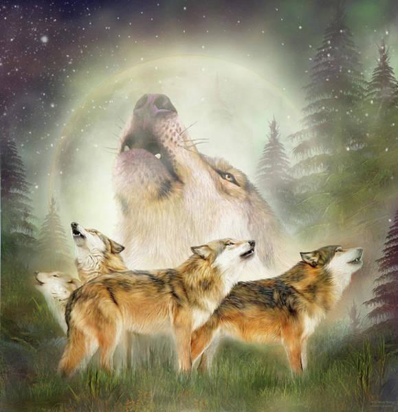 Mixed Media - Wolf Moon Rising by Carol Cavalaris