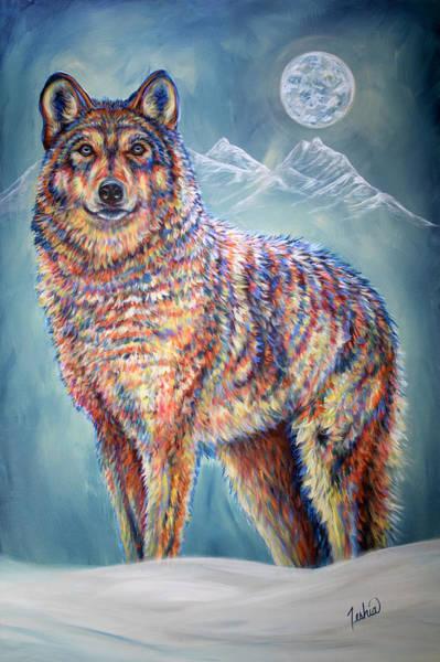 Full Moon Painting - Wolf Moon by Teshia Art