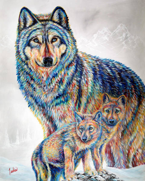 Pup Painting - Wolf Pack by Teshia Art