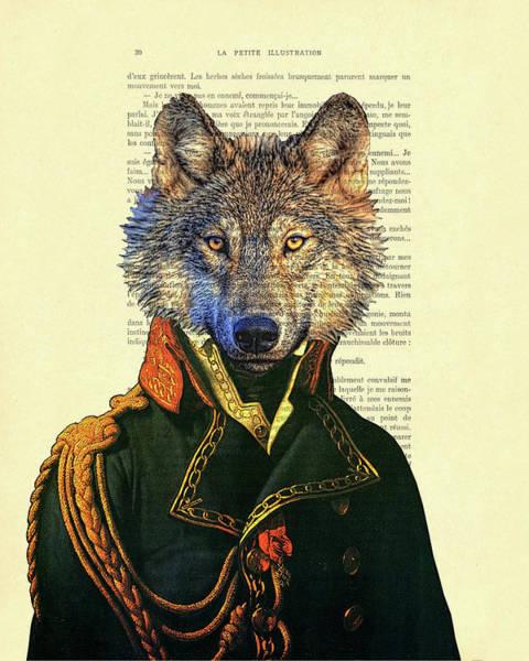 Wall Art - Digital Art - Wolf Portrait Illustration by Madame Memento
