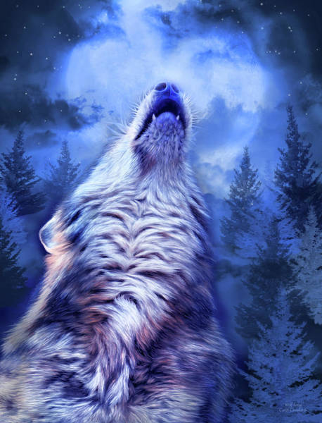 Mixed Media - Wolf Song by Carol Cavalaris