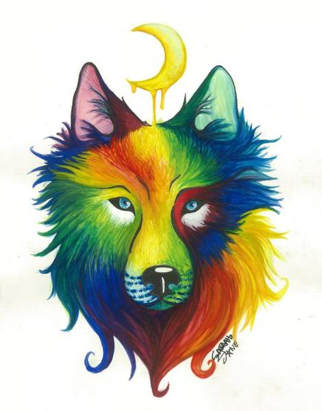 Full Moon Painting - Wolf Spirit by Sarah Jane