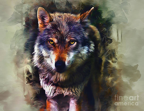 Furry Digital Art - Wolf Timber by Ian Mitchell