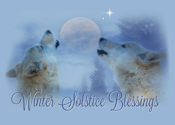 Wicca Photograph - Wolf Winter Solstice Blessings by Stephanie Laird