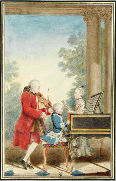 Drawing - Wolfgang Amadeus Mozart  Playing In Paris With His Father Jean-georg Leopold And His Sister Maria-an by Louis Carrogis Carmontelle