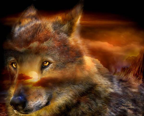 Mixed Media - Wolfland by Carol Cavalaris
