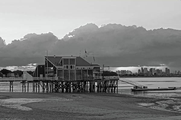 Photograph - Wollaston Beach Quincy Ma Sunset Boston Skyline Quincy Ma Black And White by Toby McGuire