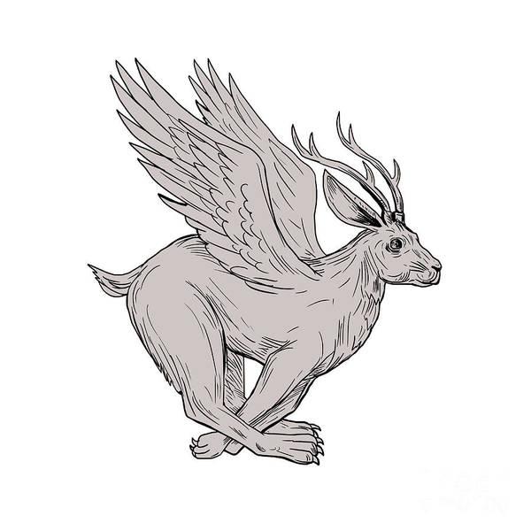 Haring Digital Art - Wolpertinger Running Side Drawing by Aloysius Patrimonio
