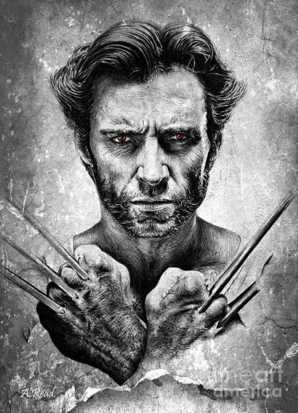 Wolverines Drawing - Wolverine Red Eyes Edit by Andrew Read