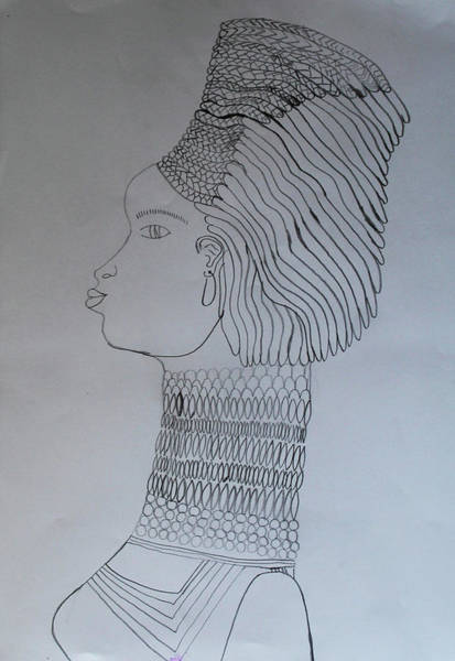 Drawing - Woman Adorned by Gloria Ssali