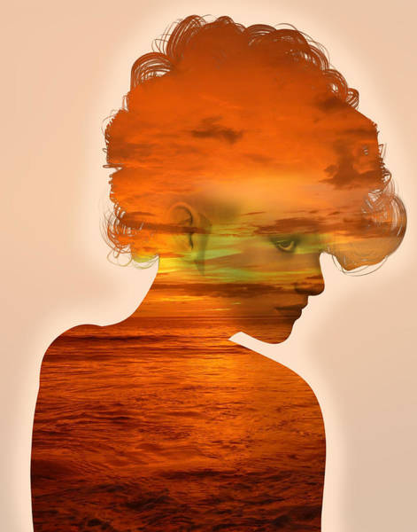 Woman And A Sunset Art Print